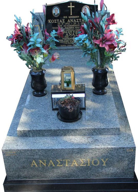 Full Monument Cemetery Memorial Oceanic Gray and Royal Black Indian Granite Anastasios Box Hill
