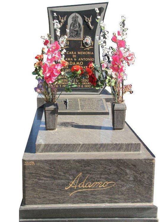 Full Monument Cemetery Memorial Platinum Blue and Royal Black Indian Granite Adamo Box Hill