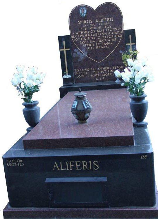 Full Monument Cemetery Memorial Ruby Red and Royal Black Indian Granite Aliferis Box Hill