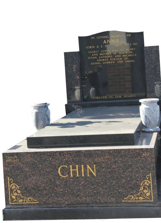 Gravestone and Monument Headstone in Maple Red and Royal Black Indian Granites for Anna Chin in Box Hill Cemetery Grave Monuments.