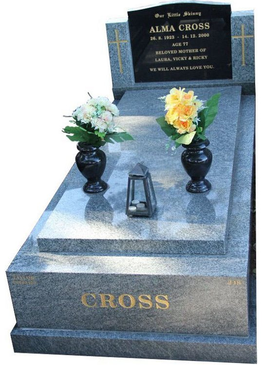 Gravestone and Monument Headstone in Oceanic Grey and Royal Black Indian Granites for Cross in Box Hill Cemetery Grave Monuments.