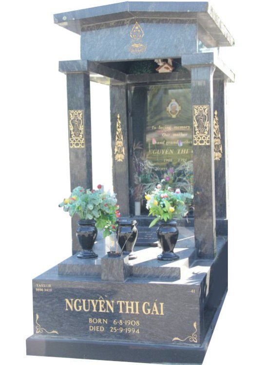 Gravestone and Monument Headstone in Platinum Blue and Royal Black Indian Granites for Nguyen Thi Gai in Box Hill Cemetery Grave Monuments.
