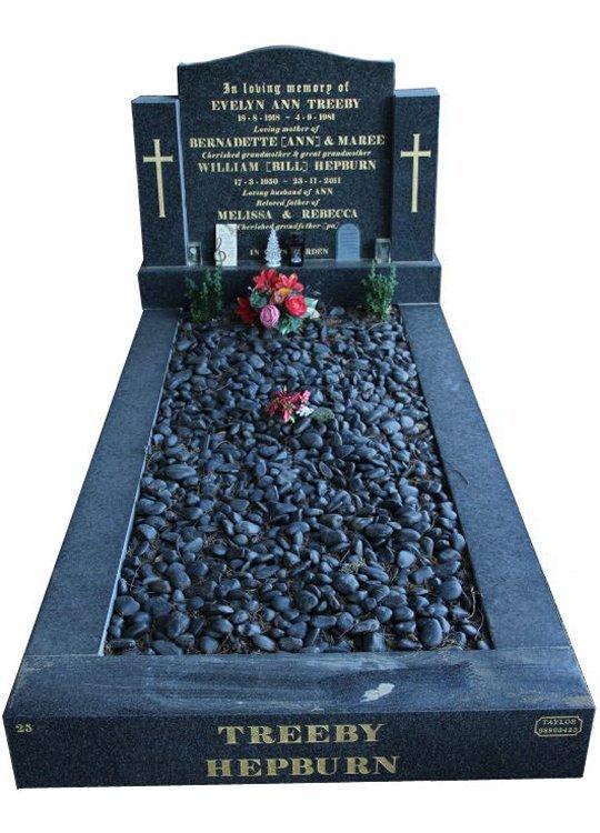 Gravestone and Monument Headstone in Regal Black (Dark) Indian Granite for Hepburn in Box Hill Cemetery Grave Monuments.