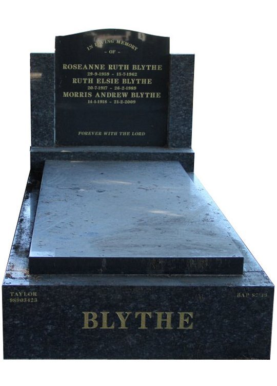 Gravestone and Monument Headstone in Sapphire Brown and Royal Black Indian Granites for Blythe in Box Hill Cemetery Grave Monuments.