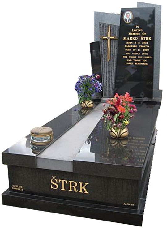 Springvale B G Black Indian Granite Full Monument Strk Cemetery Memorial
