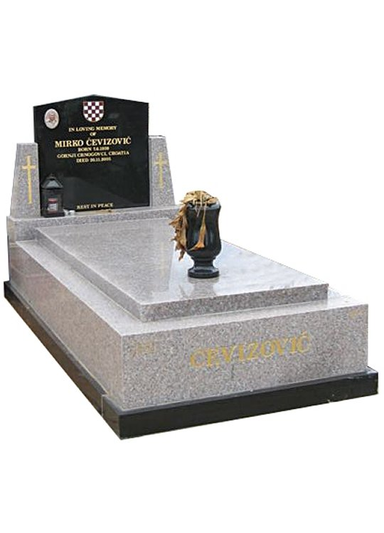 Springvale Light Pink and Royal Black Full Monument Cevizovic Cemetery Memorial