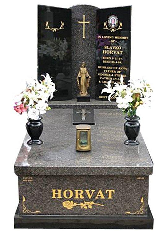Springvale New Mahogany and B G Black Full Monument Horvat Cemetery Memorial