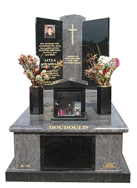 Springvale CPI Paradiso and Royal Black Full Monument Doudoulis Cemetery Memorial