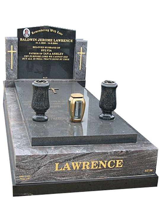 Springvale Paradiso and Royal Black Indian Granite Full Monument Lawrence Cemetery Memorial