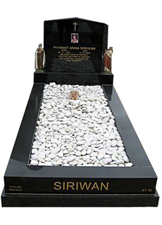 Springvale Regal Black (DarK) Indian Granite Full Monument Siriwan Cemetery Memorial