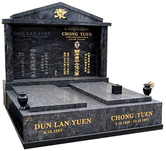 Springvale Silk Blue Indian Granite Double Monument Yuen Cemetery Memorial