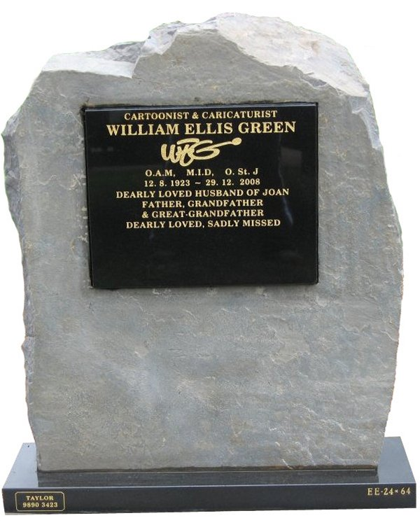 Cemetery Headstone in natural rock with Royal Black Indian Granite plaque for Green at Lilydale Cemetery