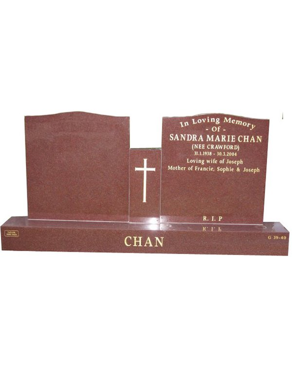 Cemetery Headstone in Sentinel Red Indian Granite for Chan at Templestowe Cemetery