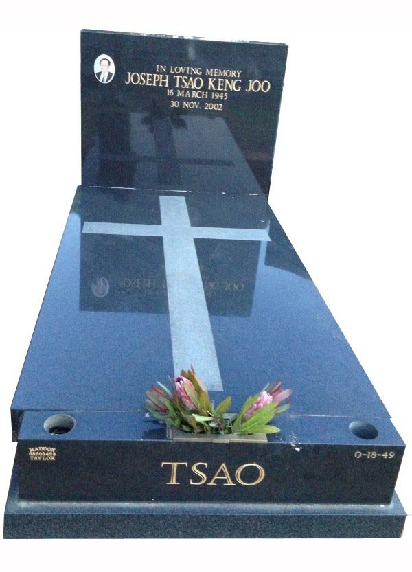 Cemetery Memorial in Regal Black (Dark) Indian Granite for Tsao at Springvale Botanical Cemetery