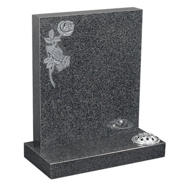 Floral Accent Granite Lawn Cemetery Headstone HT1 in Regal Black (Light) Indian Granite