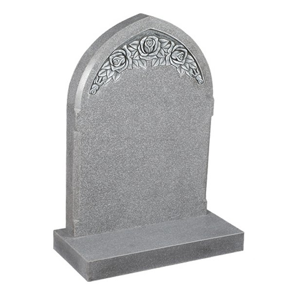 Floral Accent Granite Lawn Cemetery Headstone HT38 in Cera Grey Indian Granite