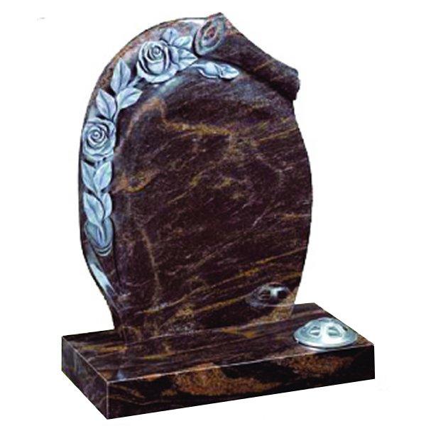 Floral Accent Granite Lawn Headstone HT25 in Indian Aurora Premium Indian Granite