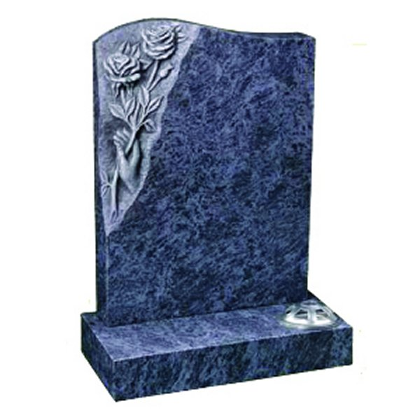 Floral Accent Granite Lawn Cemetery Headstone HT26 in Bahama Blue Indian Granite