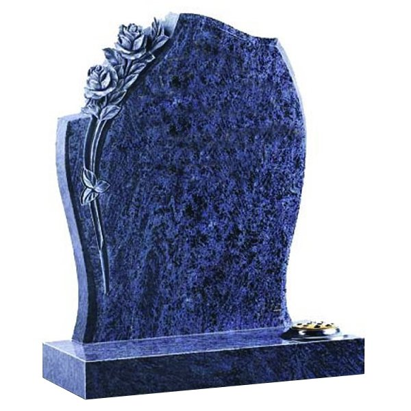 Floral Accent Granite Lawn Cemetery Headstone HT27 in Vizag Blue Medium Indian Granite