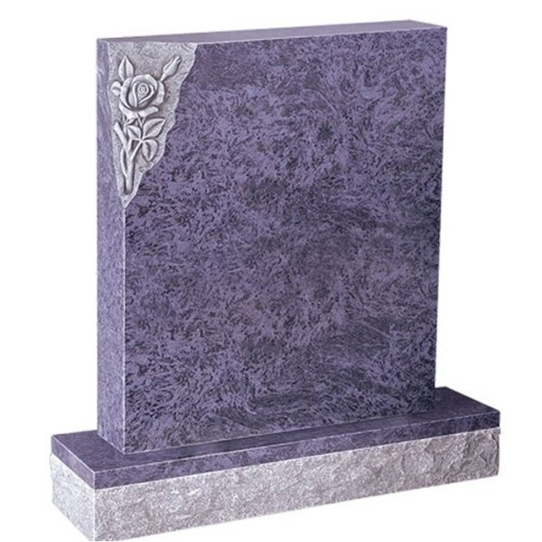Floral Accent Granite Lawn Cemetery Headstone HT3 in Vizag Blue Medium Indian Granite