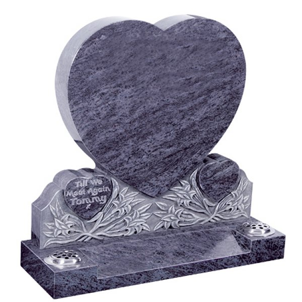 Floral Accent Granite Lawn Cemetery Headstone HT31 in Vizag Blue Medium Indian Granite