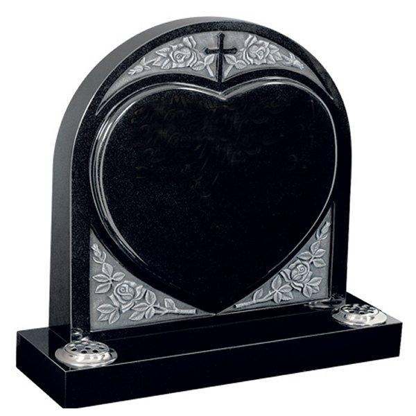 Floral Accent Granite Lawn Headstone HT32 in B G Black Indian Granite