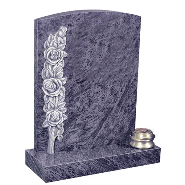 Floral Accent Granite Lawn Cemetery Headstone HT33 in Vizag Blue Medium Indian Granite