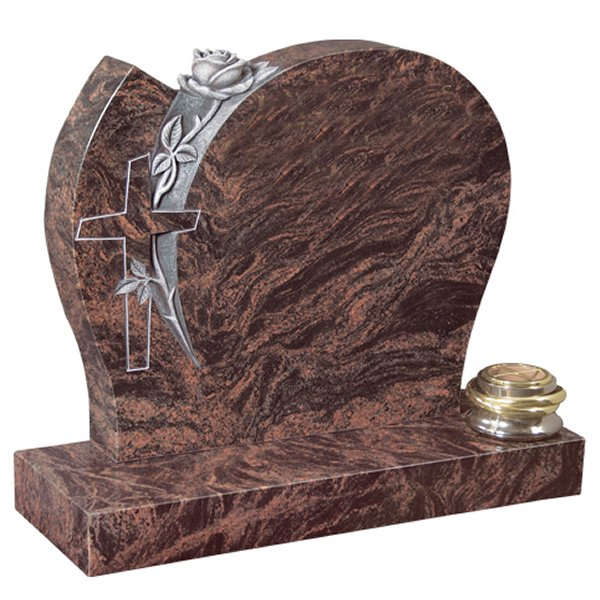 Floral Accent Granite Lawn Headstone HT34 in Indian Aurora Premium Indian Granite