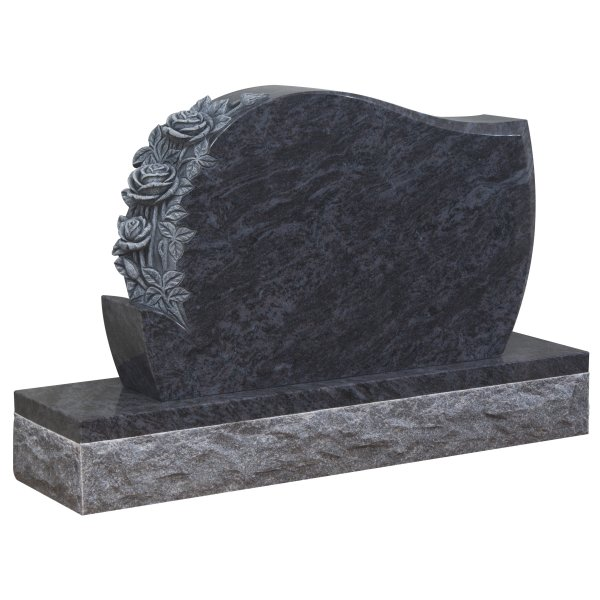 Floral Accent Granite Lawn Cemetery Headstone HT35 in Vizag Blue Premium Indian Granite