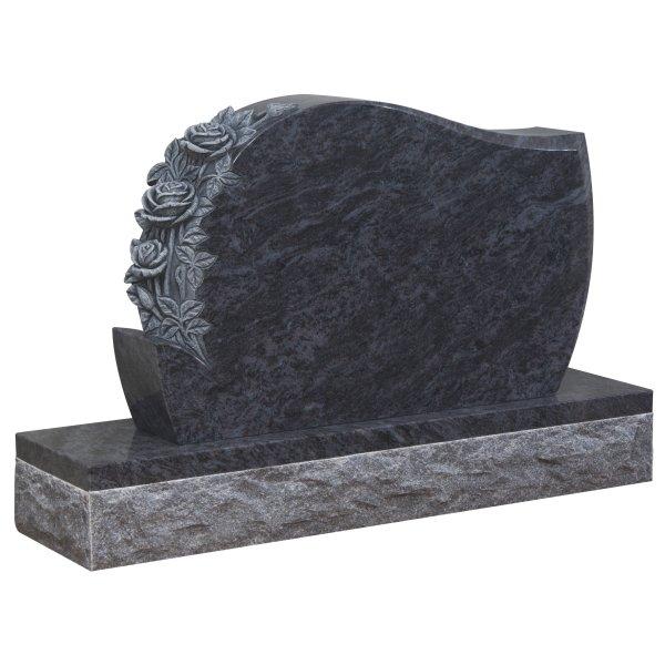 Floral Accent Granite Lawn Headstone HT35 in Vizag Blue Premium Indian Granite