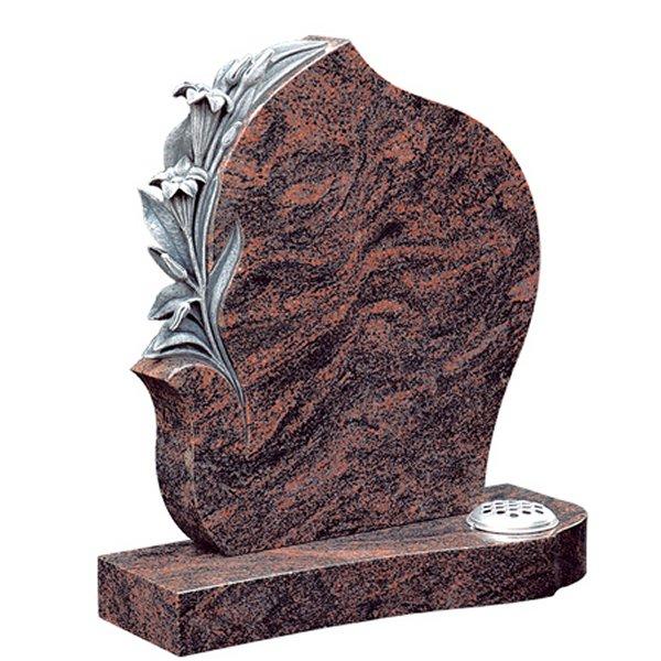 Floral Accent Granite Lawn Headstone HT36 in Indian Aurora Premium Indian Granite