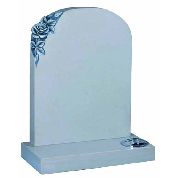 Floral Accent Granite Lawn Cemetery Headstone HT4 in B G Black (Sand Blast Finish) Indian Granite