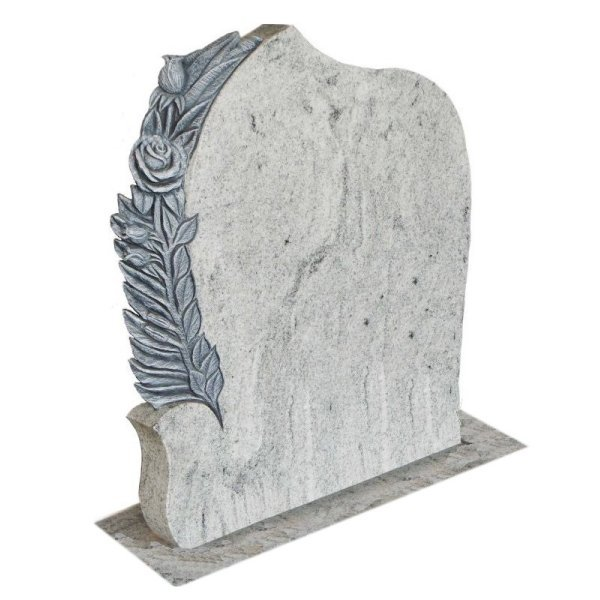 Floral Accent Granite Lawn Cemetery Headstone HT40 in Kashmir Valley Indian Granite