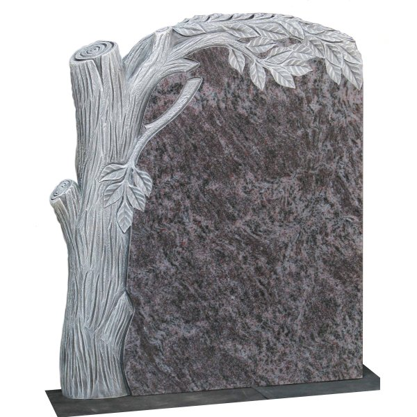 Floral Accent Granite Lawn Cemetery Headstone HT45 in Vizag Blue Light Indian Granite