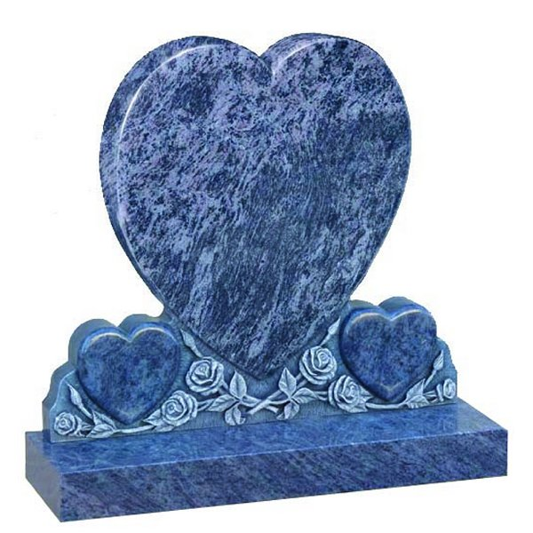 Floral Accent Granite Lawn Cemetery Headstone HT48 in Vizag Blue Medium Indian Granite