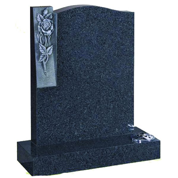 Floral Accent Granite Lawn Cemetery Headstone HT51 in Regal Black (Dark) Indian Granite