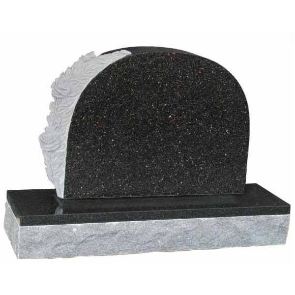 Floral Accent Granite Lawn Cemetery Headstone HT6 in Silver Pearl Black Indian Granite