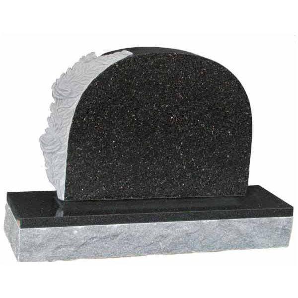 Floral Accent Granite Lawn Headstone HT6 in Silver Pearl Black Indian Granite