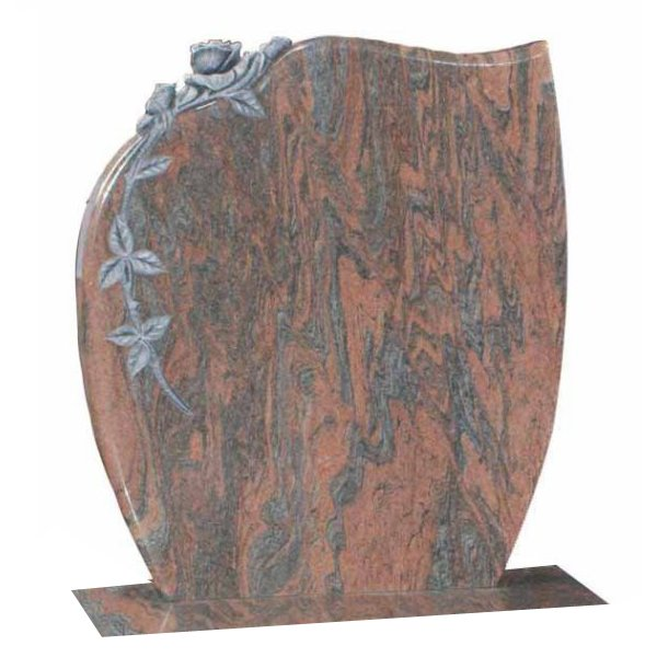 Floral Accent Granite Lawn Headstone HT8 in Twilight Red Indian Granite