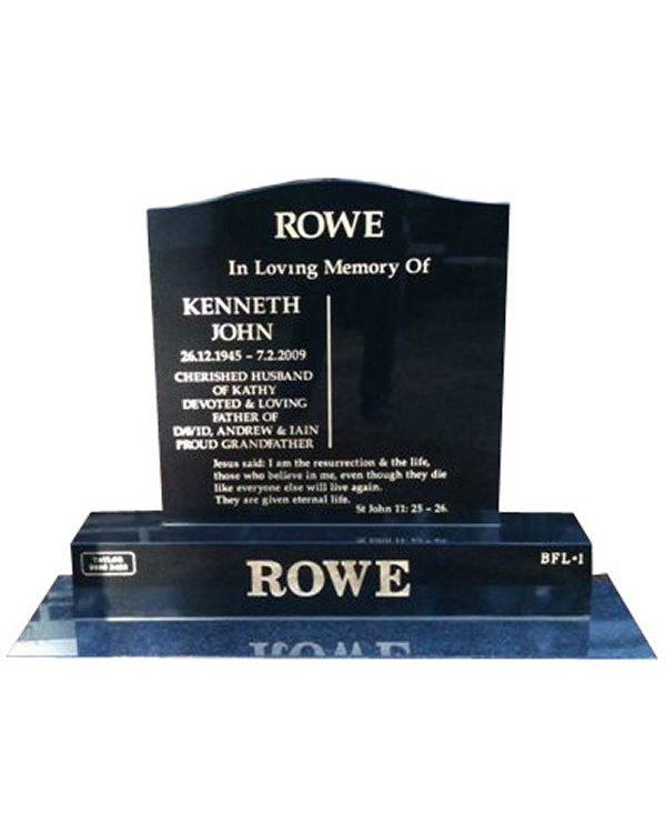 Granite headstone in BG Black Indian Granite for Rowe at the Marysville Cemetery