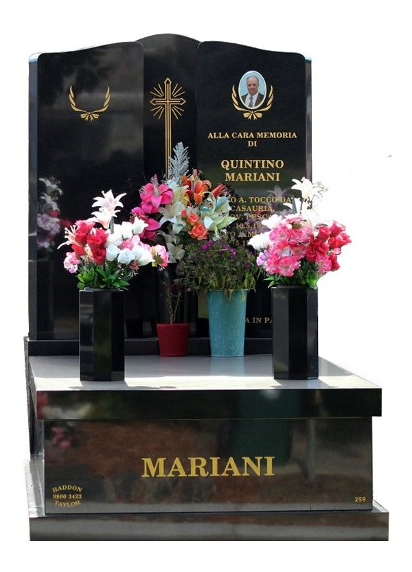 Granite Memorial and Full Monument Headstone in B G Black Indian Granite for Mariani at Burwood Cemetery