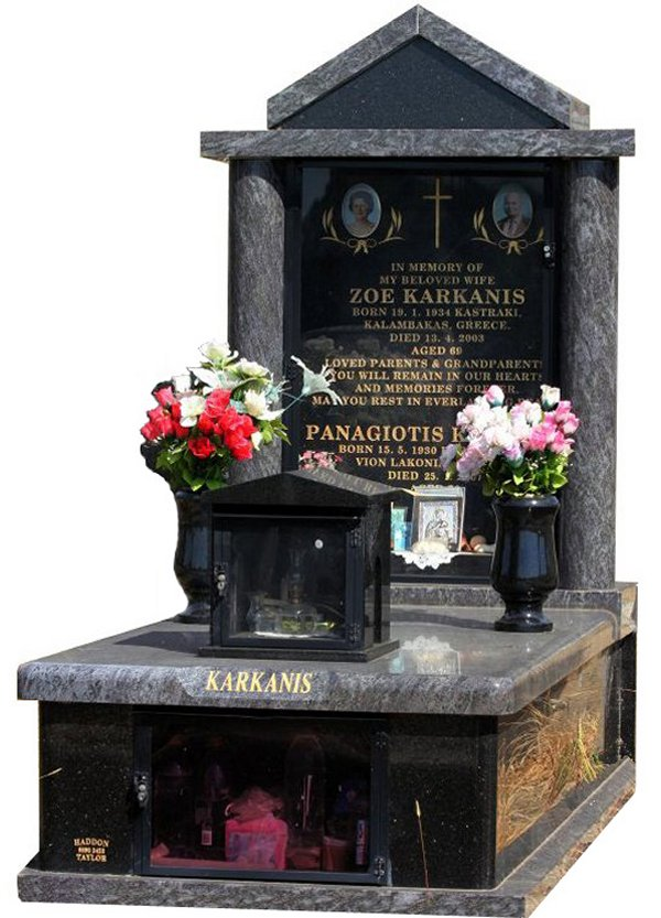 Granite Memorial and Full Monument Headstone in Bahama Blue and Black Galaxy Indian Granite for Karkanis at Burwood Cemetery