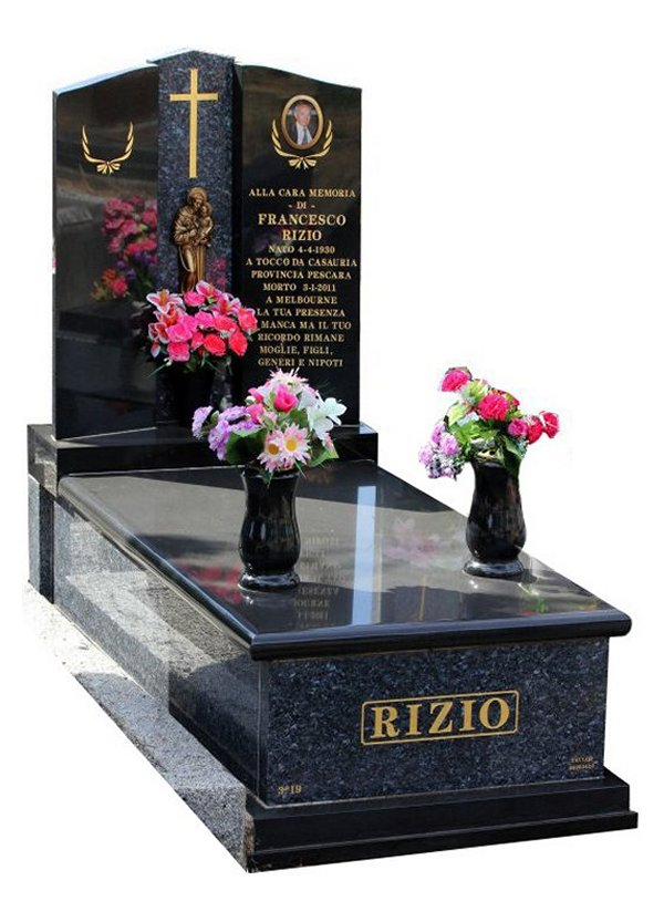 Granite Memorial and Full Monument Headstone in Blue Pearl and Royal BlackIndian Granite for Rizio at Burwood Cemetery