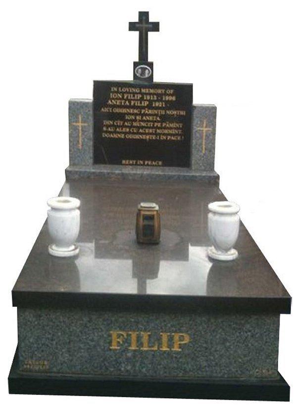Granite Memorial and Full Monument Headstone in Harcourt Grey and Royal Black Indian Granite for Filip at Springvale Botanical Cemetery