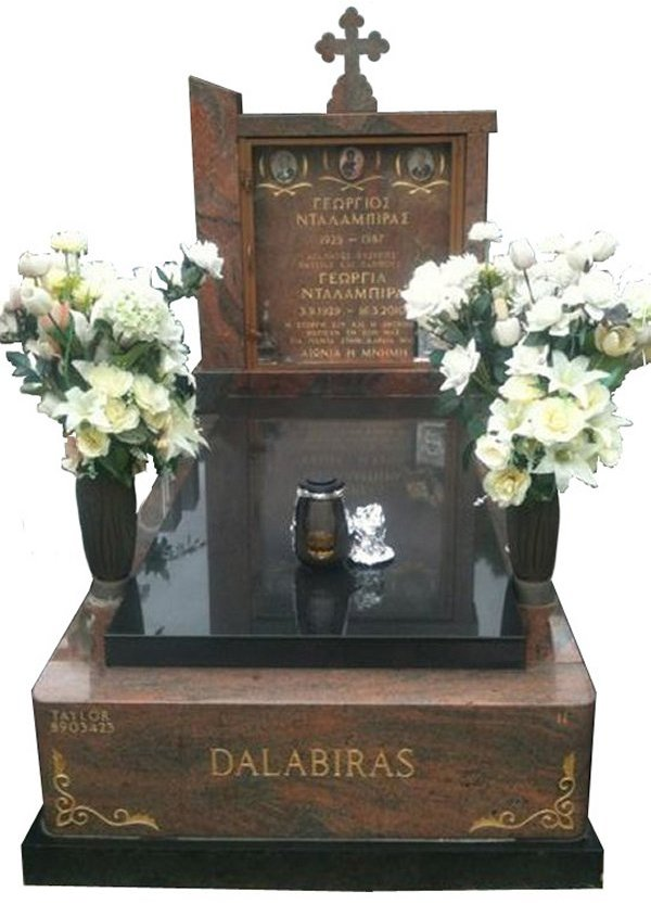 Granite Memorial and Full Monument Headstone in Multicolour Red and Royal Black Indian Granite for Dalabiras at Springvale Botanical Cemetery