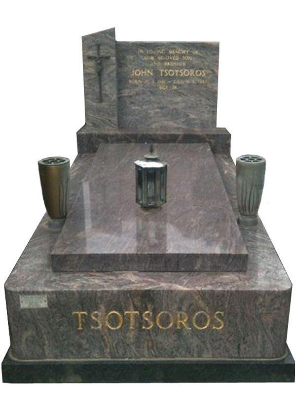 Granite Memorial and Full Monument Headstone in Paradiso Indian Granite for Tsotsoros at Springvale Botanical Cemetery