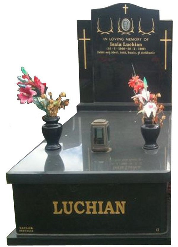 Granite Memorial and Full Monument Headstone in Royal Black Indian Granite for Luchian at Springvale Botanical Cemetery