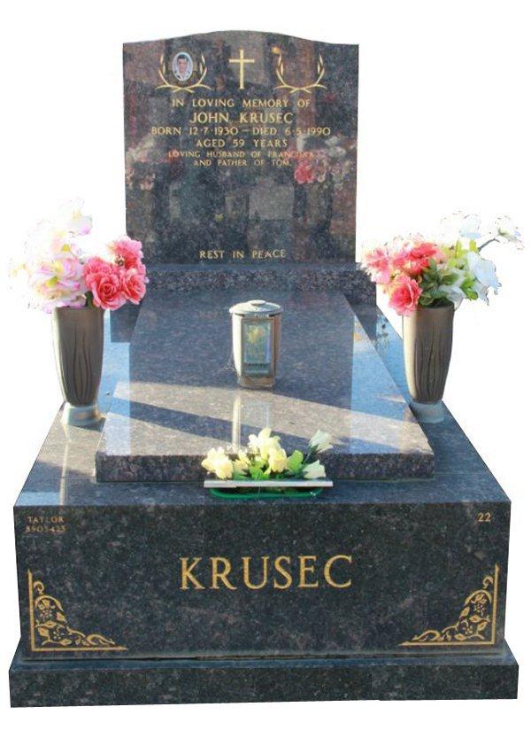 Granite Memorial and Full Monument Headstone in Sapphire Brown Indian Granite for Krusec at Springvale Botanical Cemetery