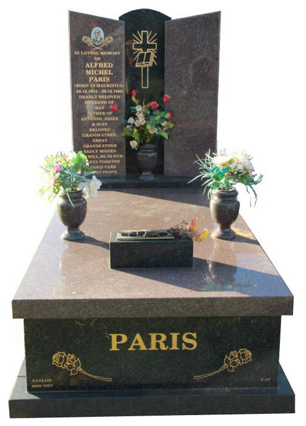 Granite Memorial and Full Monument Headstone in Silver Pearl Black and Paradiso Indian Granite for Paris at Springvale Botanical Cemetery