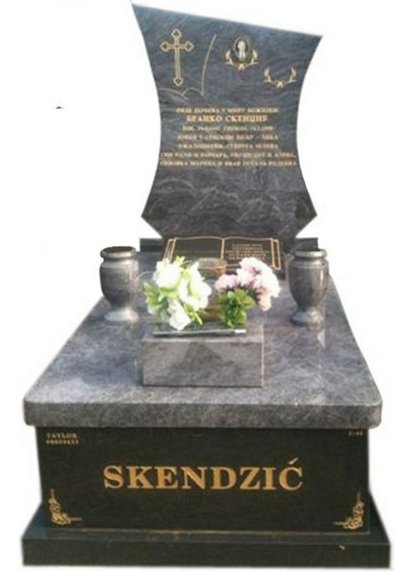 Granite Monument in Bahama Blue and Regal Black (Light) Indian Granite for Skendzic at Springvale Botanical Cemetery